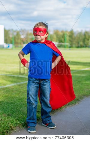Superhero Standing And Looking Towards