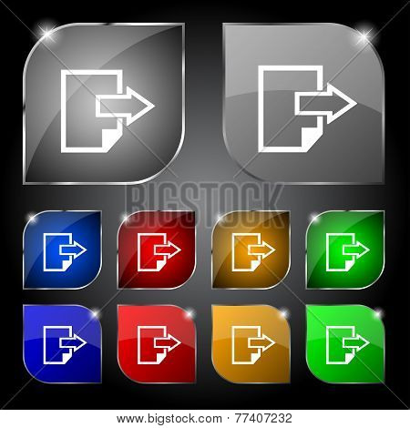Export file icon. File document symbol. Set of colored buttons. Vector