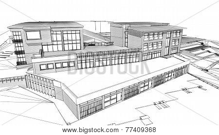 Pencil Sketch Of A Public Building