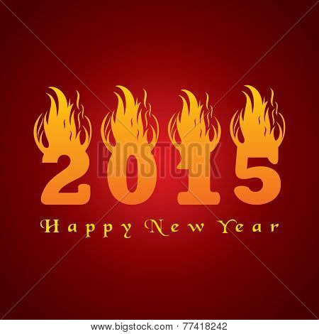 New year greeting 2015 with fire stock vetor