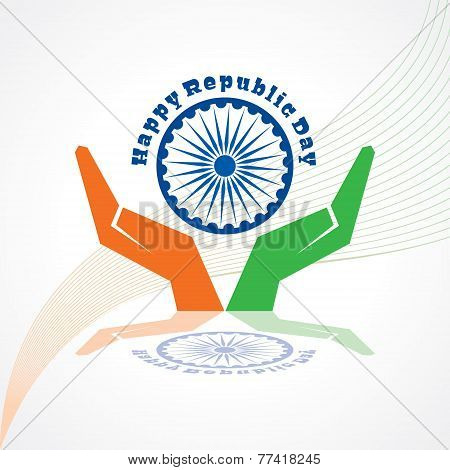 Republic Day greeting with hand stock vector