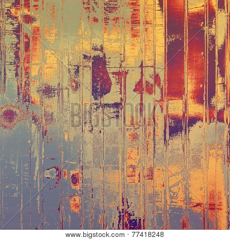 Grunge texture with decorative elements and different color patterns: gray; blue; purple (violet); orange; brown; yellow