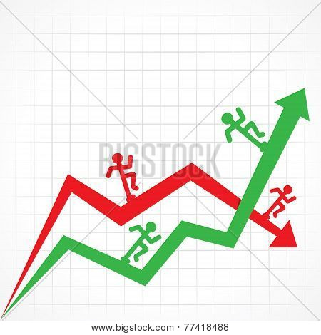 Up and Down business graph with running man stock vector