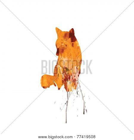 Watercolor Fox On A White Background With Color Splash