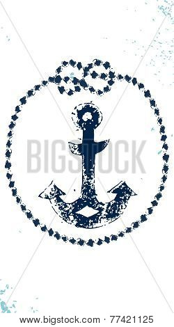 Navy blue and white rope with knots and anchor vertical banner, vector