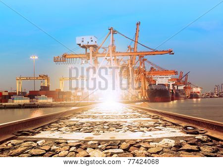 ship on port perspective of railroads track