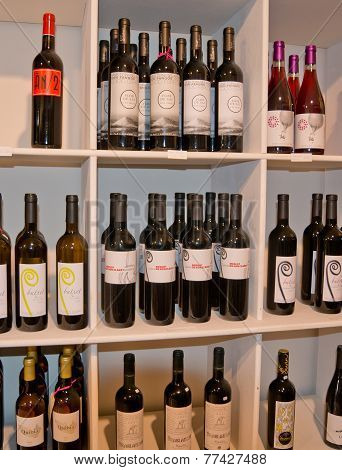 Mallorquin wines on a store shelf