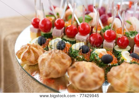 Tray with canape at buffet