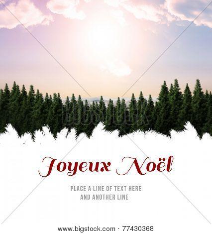 Joyeux noel against fir tree forest in snowy land