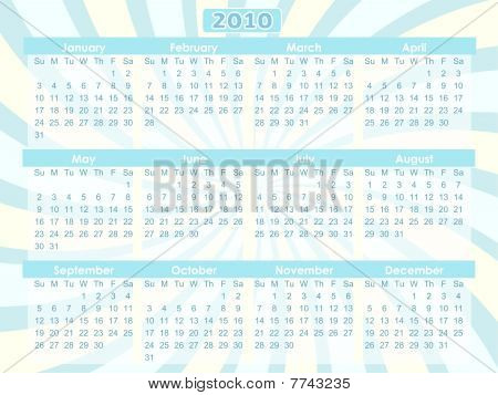2010 Swirl Blue 12 Month Calendar  Vector