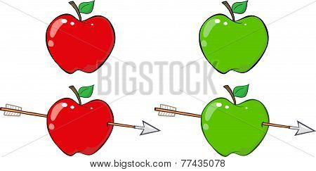 Red and Green Apple With Arrow. Collection Set