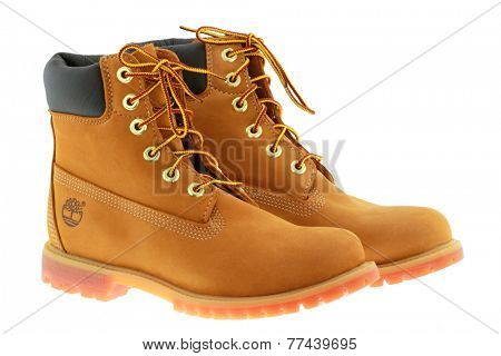 BANGKOK, THAILAND - NOVEMBER 2014 : Timberland 6-Inch premium waterproof boots on 21 November 2014 in Bangkok, Thailand. Timberland is a brand of an American manufacturer that focuses on outdoor wear.