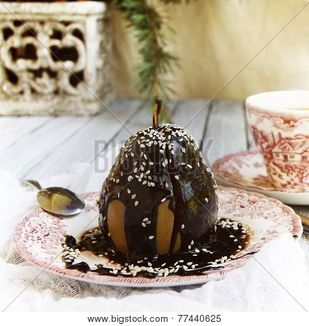 Christmas dessert pear with chocolate
