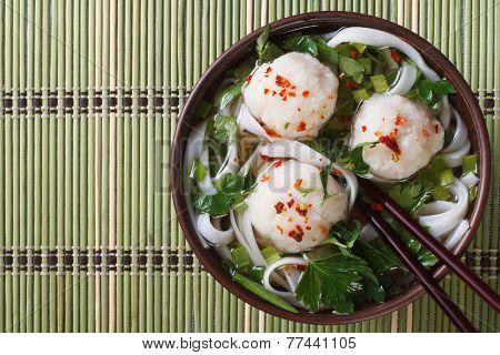 Rice Noodle Soup With Fish Balls Top View