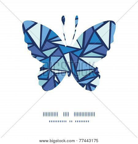 Vector abstract ice chrystals butterfly silhouette pattern frame