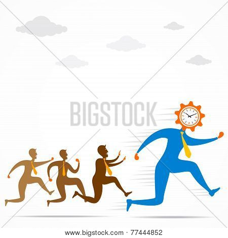 men follow the clock head men concept vector