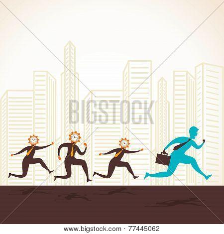 clock head men follow the leader concept vector