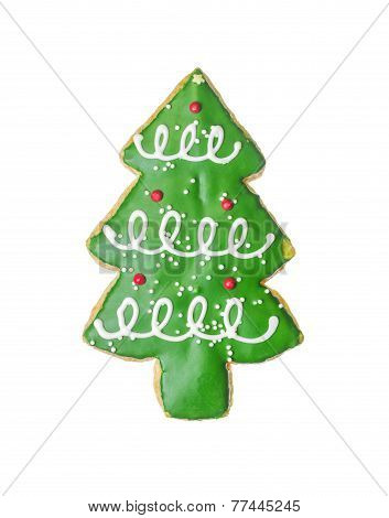 Chirstmas Tree Cookie Isolated On White