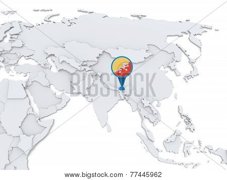 Bhutan On A Map Of Asia