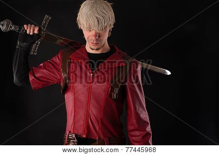 handsome man with a bastard sword