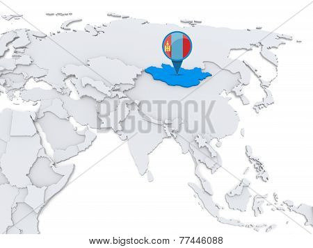 Mongolia On A Map Of Asia