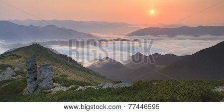 View Of Misty Fog Mountains In Autumn, Carpathians, Ukraine