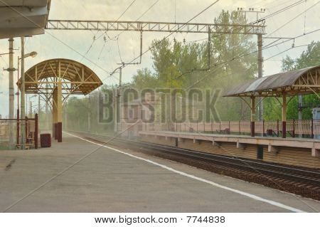 Sandstorm On Railway Station