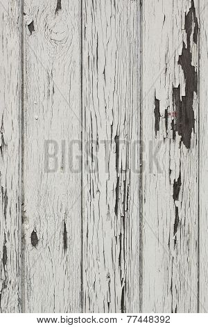 Wood Plank Wall With White Color Peeling Off