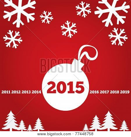 Happy New Year greetings card with flat icons
