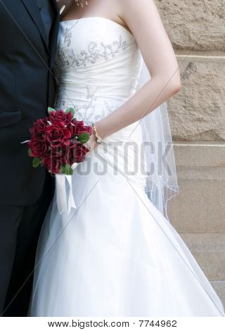 Bride & Groom with Bouquet