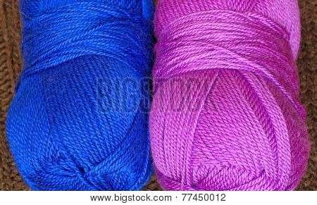 Two Skeins Of Knitting Yarn