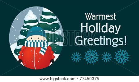 Warmest Holiday Greetings - Cold Little Boy in the Snow