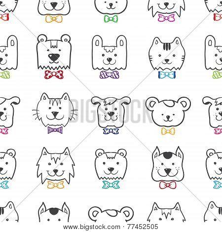 Vector hand drawn doodle cartoon animal heads seamless pattern