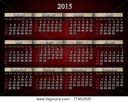 Claret Calendar For 2015 Year