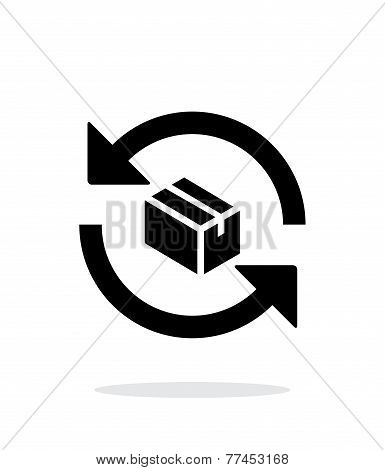 Exchange box simple icon on white background.