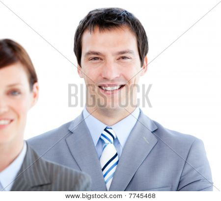 Portrait Of A Smiling Businesspartners Looking At The Camera