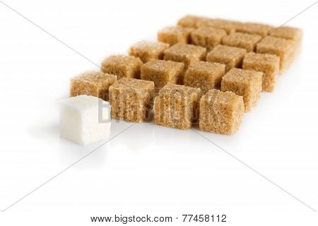 Cubes Of Sugar Cane Brown And White Refined
