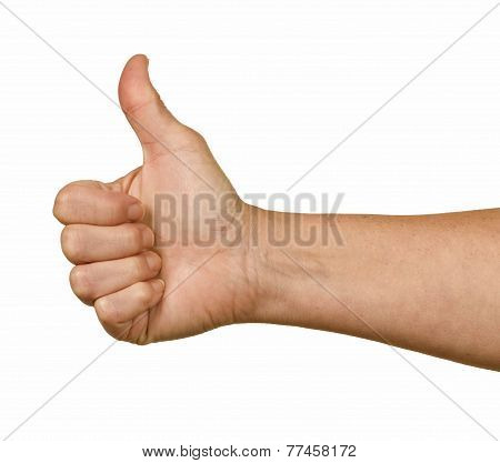 Man's Hands Giving A Thumbs Up