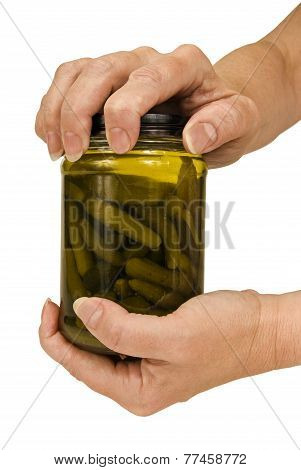 Woman Trying To Open Jar