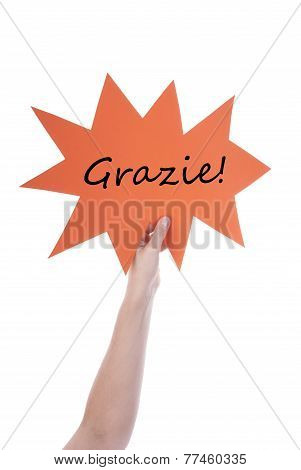 Orange Speech Balloon With Italian Grazie
