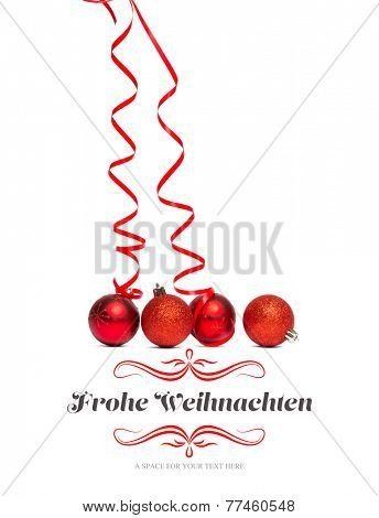 border against four red christmas ball decorations