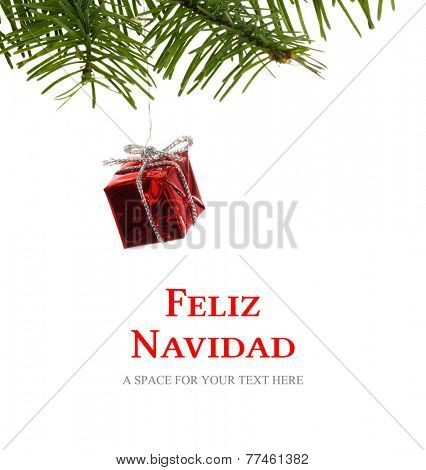 Feliz navidad against red christmas decoration hanging from branch