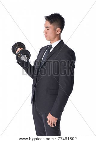 Portrait of Young Businessman Exercising With Dumbbells