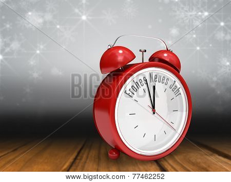 Frohes neues jahr in red alarm clock against shimmering light design over boards