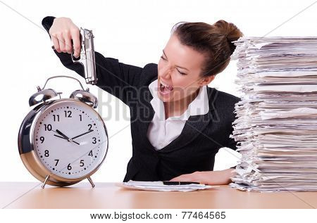 Woman with gun under stress from deadlines