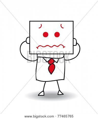 frightened businessman. Joe holds a sheet of paper on which is drawn a frightened face. he is scared , he is anonymous behind this sheet of paper.