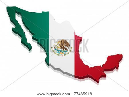 detailed illustration of a map of Mexico with flag, eps10 vector
