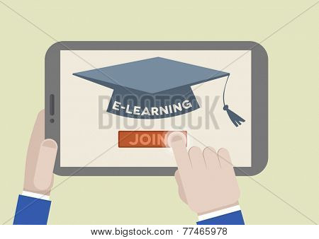 minimalistic illustration of a tablet computer with E-Learning scholar hat and hand pushing the join button, eps10 vector