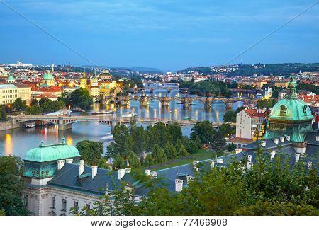 Prague cityscape after susnset