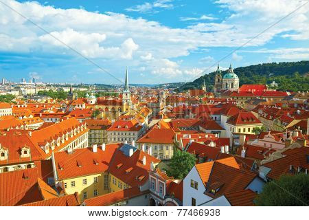 Cityscape of Prague with cathedral of St. Nicholas